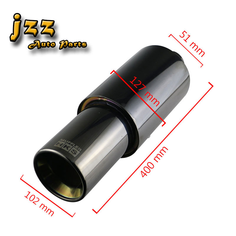 JZZ universal car muffler tip 51mm in black blue purple exhaust pipe high quality stainless steel silencer with double wall out universal exhaust car high power 304 stainless steel silencer car exhaust tips with car styling exhaust pipes 2 5 in