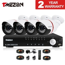 Tmezon AHD 8CH 1080N DVR 4pcs 1.0MP 720P Camera Security Surveillance CCTV System Outdoor Waterproof  IR Night Vision HD Kit