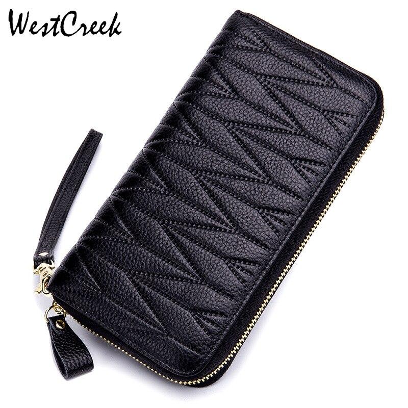 WESTCREEK Brand Genuine Cow Leather Women RFID Blocking Wristlet Clutch Ladies Card Holder Wallets Passport Travel Purse