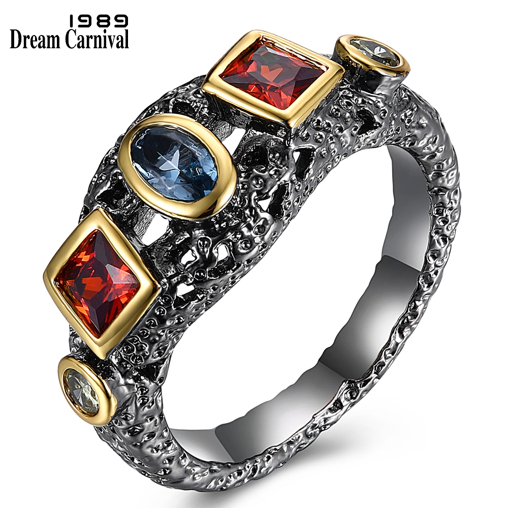 DreamCarnival 1989 Neo-Gothic Ring for women Red Blue Olivine Cubic Zirconia in Oval Square Round Shape Party Jewlery WA11526(China)