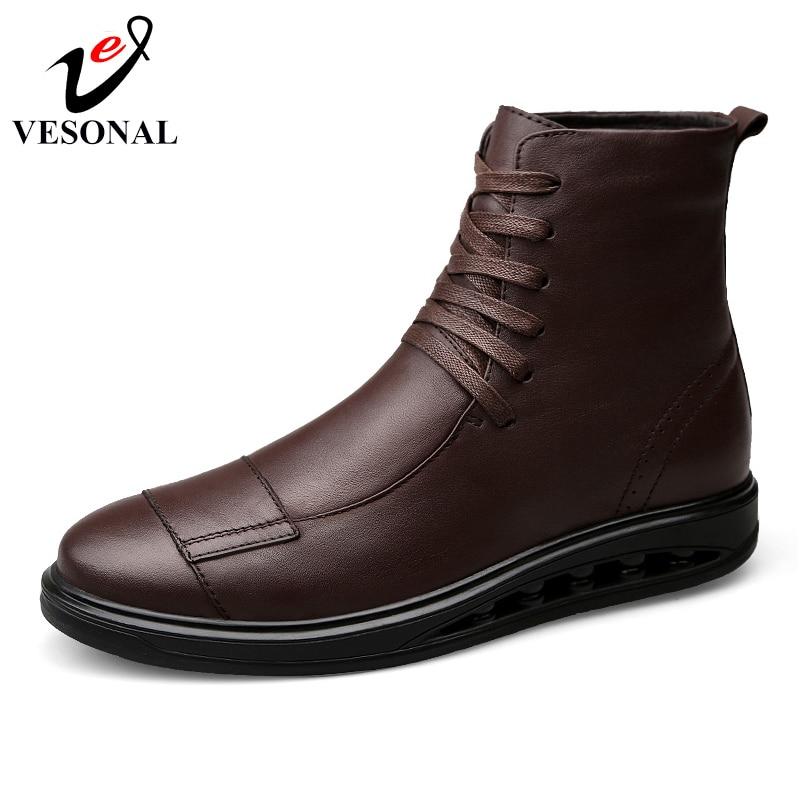 Bottes Pour De Cuir Black Marque Véritable Chaussures brown Qualité Boots Vesonal Adulte Mode Mâle 2018 Populaire Hommes Automne D'affaires Boots 1185 3A5R4jqL