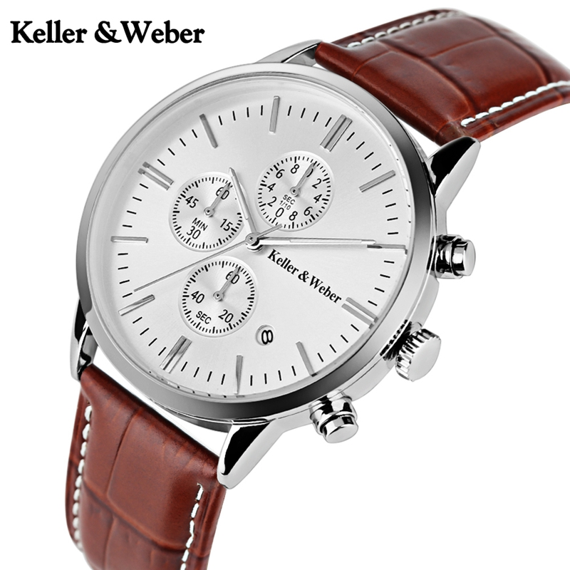 Keller & Weber Mens Date Chronograph Sport Watches 3ATM Waterproof Leather Quartz Watch Reloj Clock Male Hour Relogio Masculino luise keller luise keller ожерелье 133319