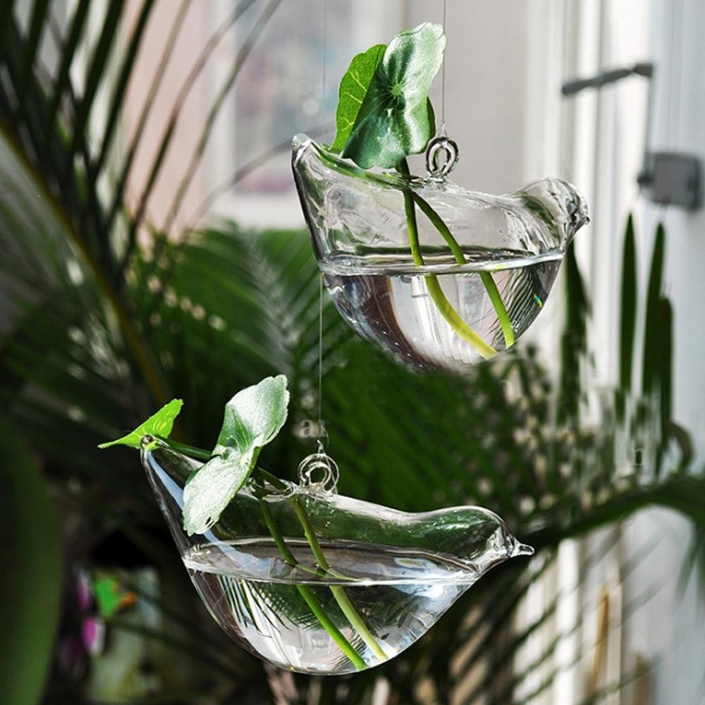 3 Pcs / lot Baru KEYAMA bentuk Burung kaca menggantung vas bunga - Dekorasi rumah - Foto 1