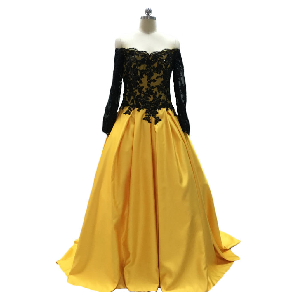 Hot sale black yellow boat neck long sleeve appliques ball for Yellow wedding dresses for sale