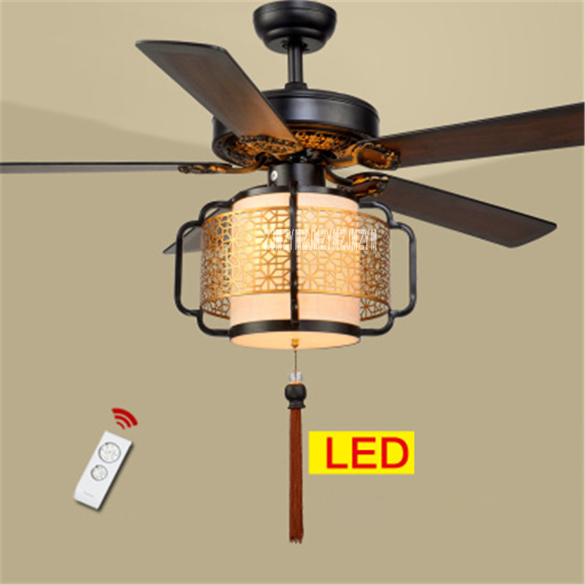 New HS030 Ceiling Fan Lights Living Room Bedroom Lights 5 Wooden Lanterns LED Mute Remote Control Fan with Lamp 220v/110v 70W