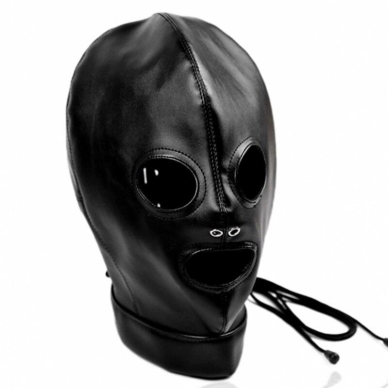 Сексуальный косплей собака головной убор кожаный капюшон БДСМ бондаж Фетиш раб повязка на глаза маска колпачок подголовник капот Пром игра одежда в стиле рейв - Цвет: PG0181