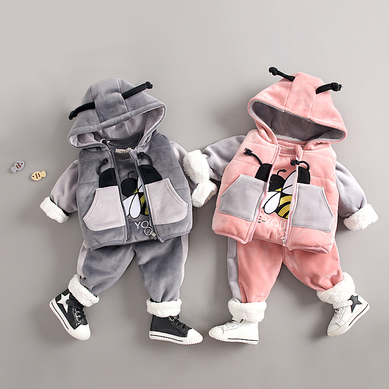 3pcs Baby Boy Girl Clothes Set Hoodie Velvet Toddler Girl Clothing Sets Hooded Coats Kids Clothes Sets Baby Girls Winter Clothes 2018 baby boy girl clothes spring autumn hooded baby girl clothes 3pcs set baby clothing set with zipper newborn baby suit