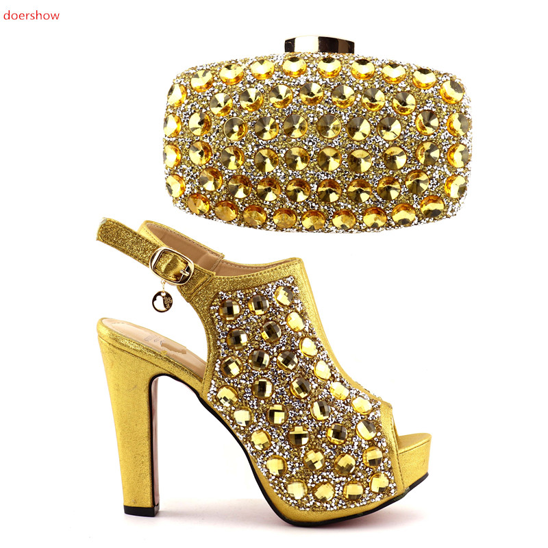 doershow Italian Shoes and Bag Sets Women Shoes and Bag Set In Italy Matching Shoes and Bag Set Decorated with stones HQQ1-21 italian visual phrase book