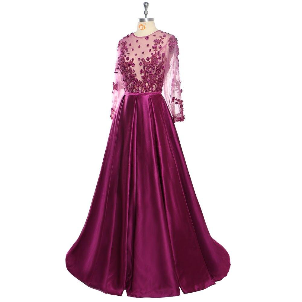 Robe De soirée 2018 dentelle violet foncé perlée Sexy longues robes De soirée mariée Banquet voir à travers-longueur Robe De bal De fête - 4