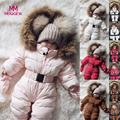 Winter Warm Windproof Newborn Baby Boy Girl Down Cotton <font><b>Romper</b></font> Jacket Fur Hooded Jumpsuit Thick Solid Coat Clothes Free Shipping