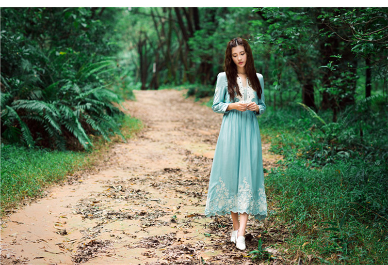 Fast Shipping High Quality New Arrival Embroidery Bohemian V Collar Long Sleeve Ball Gown Long Beach Dress Sky Blue in Dresses from Women 39 s Clothing
