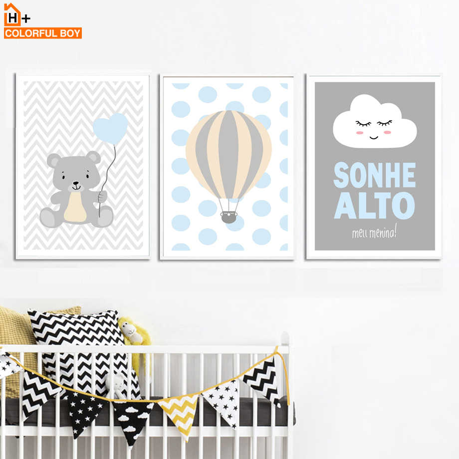 Bear Hot Balloon Cloud Quotes Wall Art Canvas Painting Nordic Posters And Prints Cartoon Wall Pictures Kids Room Bedroom Decor