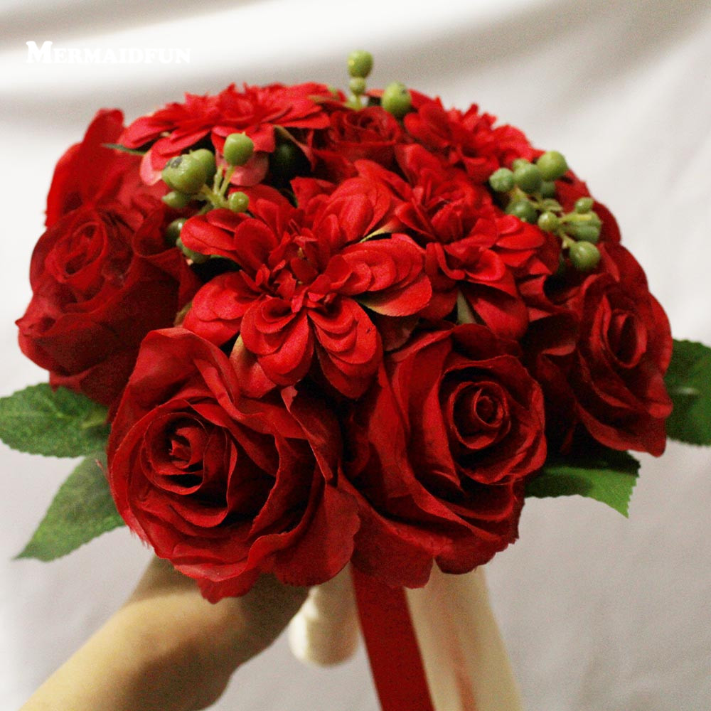 Artificial red rose wedding bouquet