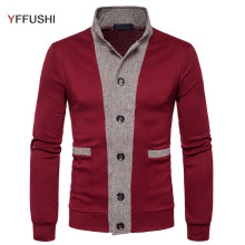 YFFUSHI 2017 New Sweater Men Spring Autumn Single Breasted Cardigan Men Stand Collar Sweaters Casual Style Fashion Design