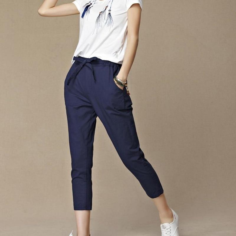 2018 Summer New Women's Casual   Pants     Capris   Fashion Cotton Linen Crops   Pants   Elastic Waist Harem   Pants   Trousers Size M-6xl