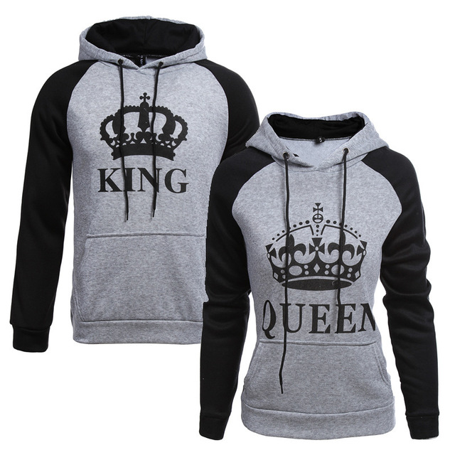 3aa11009 2018 KING Queen Crown Print Unisex Men Women Autumn Hoodies Slim Sweatshirt  for Couple Lovers Winter Patchwork Hooded Pullovers