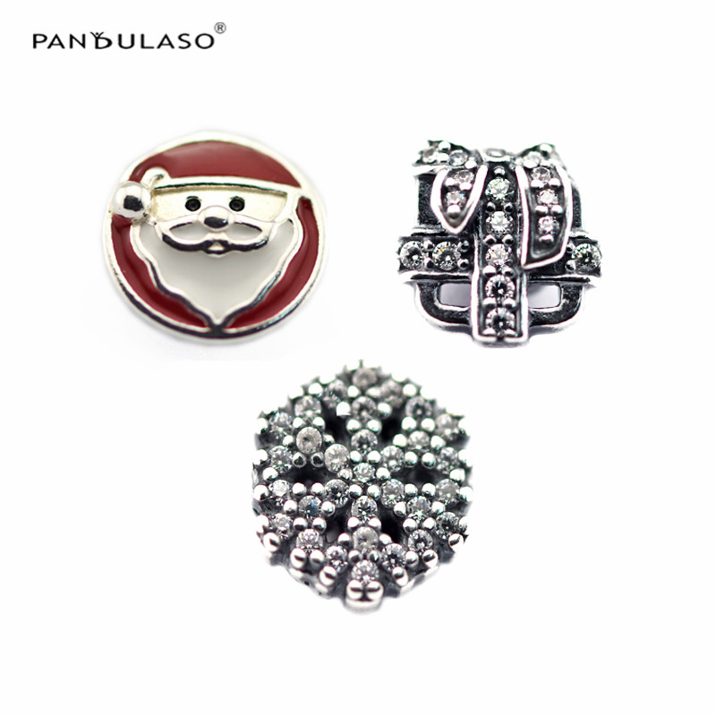 Pandulaso Christmas Wonder Petites Crystal Beads Fit Original Charms Floating Pendant Locket Necklaces Women Fine DIY Jewelry