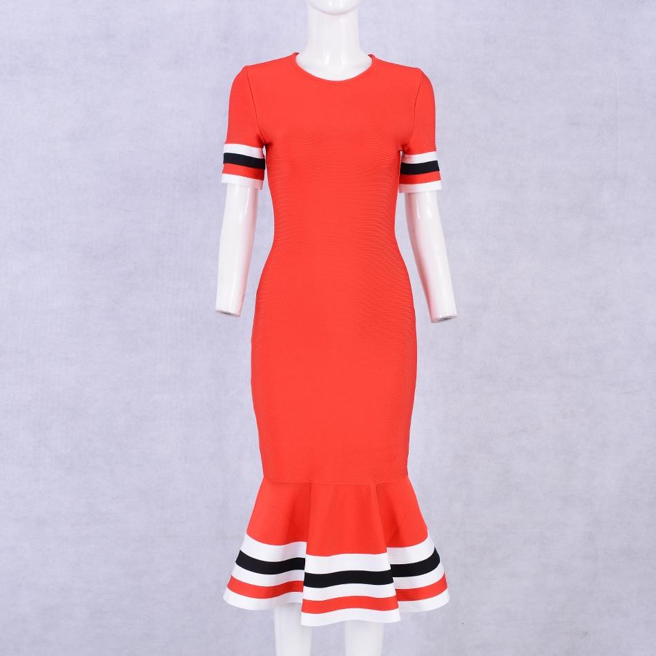 Seamyla 2019 New Elagnat Bandage Dresses Women Red Short Sleeve Summer Dress Club Bodycon Fishtail Evening Party Dress Vestidos in Dresses from Women 39 s Clothing