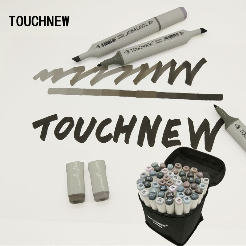 Touchnew Art Marker Double-Ended Alcohol Based Ink Neutral Gray Color Sketch Gray Tones promotion touchfive 80 color art marker set fatty alcoholic dual headed artist sketch markers pen student standard
