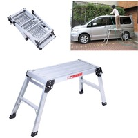 (Ship from EU) Aluminium Ladder Work Platform Bench Folding Step ladder stool Hop Up Metal Painting Car
