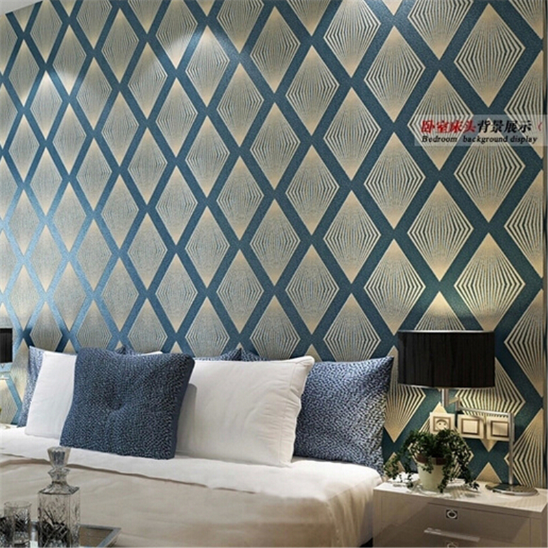 ФОТО beibehang Non-woven Wallpaper Damask 3D Wall paper Design diamond pattern wall covering Prismatic purple papel de parede living