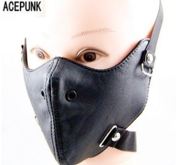 Punk czarne PU skórzane maski 2020 nowa strona fajne mężczyźni moda motocykl Punk Rock maska Hip-hop impreza z okazji halloween maski tanie i dobre opinie ACTPUNK Unisex Dla dorosłych Kostiumy NONE Skóra syntetyczna
