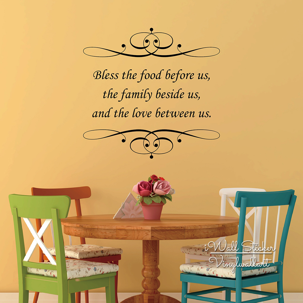 Bless Food Family Love Quote Wall Sticker Family Home Quote Wall Decal Living Room Decors Easy