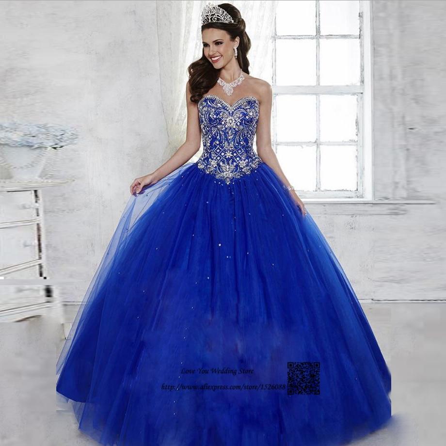 Vestidos de 15 Anos Debutante Royal Blue Ball Gown Cheap Quinceanera ...