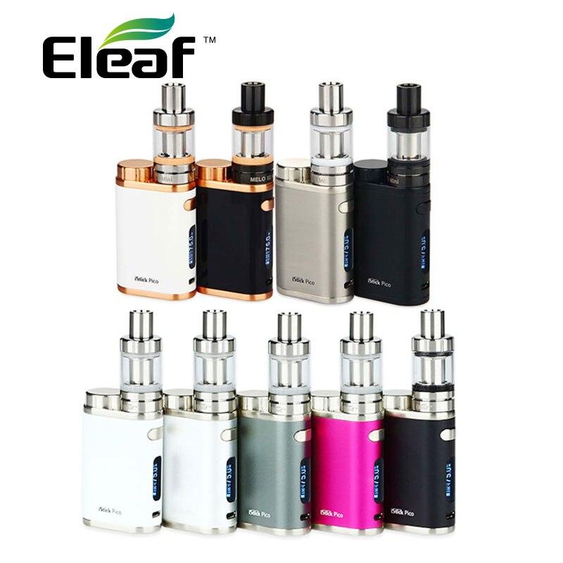 Kit Original Eleaf iStick Pico Starter con 2 ml MELO 3 Mini tanque y w 75 w caja Mod & EC 0.3ohm/0.5ohm bobinas e-cigarette vs ikuun i200
