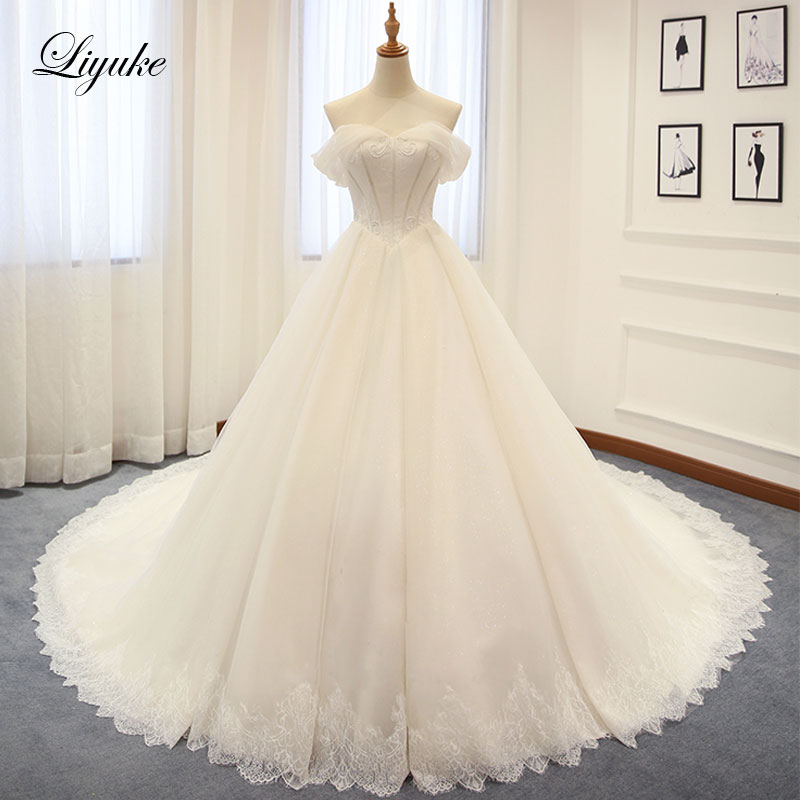 Luxurious Silky Tulle Off The Shoulder Ball Gown Wedding Dress Applique Beading Court Train Bridal Dresses Liyuke Wedding Gown