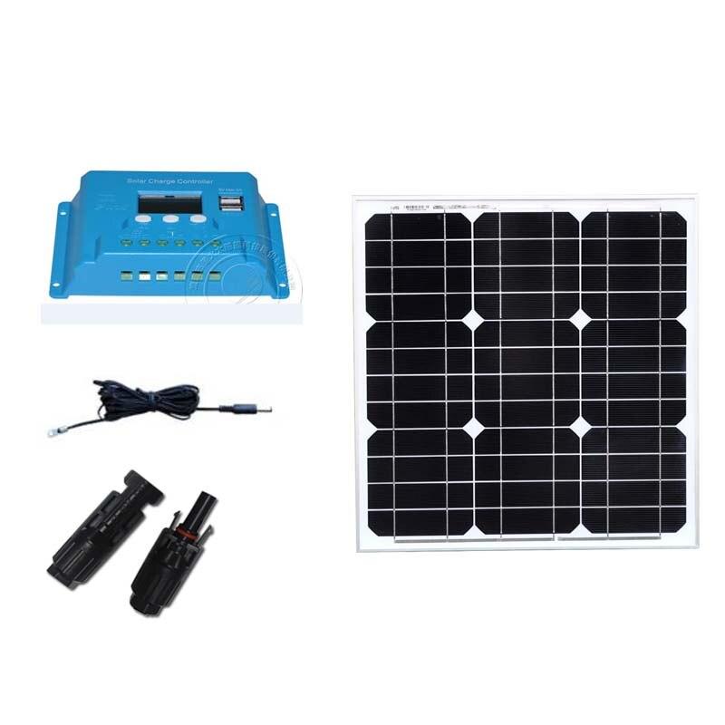 Kit Fotovoltaico Solar 12v 40w Cargador Para Telefono Movil Charge Controller 12v/24v 10A Autocaravanas RV Camping
