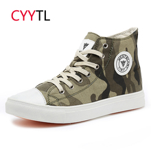 CYYTL 2019 Fashion Men Camouflage Shoes Casual High-top Canvas Sneakers Lace Up Loafers Vulcanize Chaussure Zapatos de Hombre стоимость