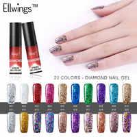 Ellwings 1 pièces brillant brillant diamant UV hybride Gel vernis longue durée Gel vernis brillant platine Gel laque couche supérieure apprêt