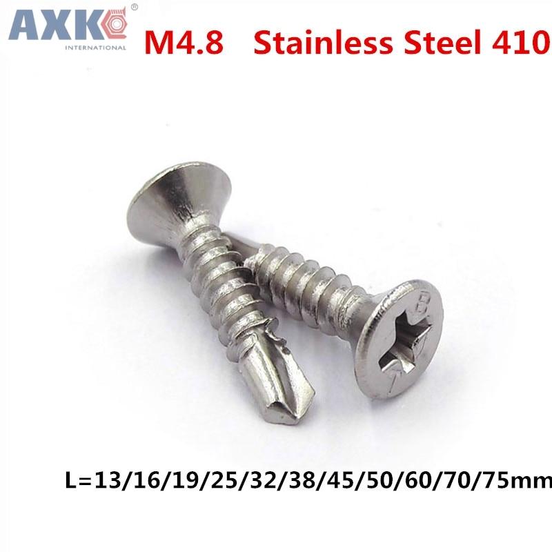 AXK M4.8 Tapping Screw Self Drilling Sheet Metal Screws Undercut Flat Head Phillips Drive Stainless Steel 410 цена