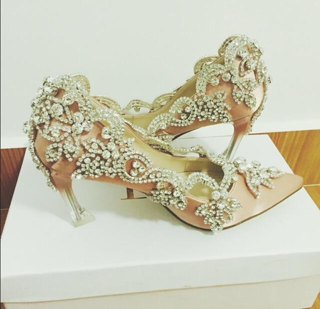 Handmade luxury rhinestone gem crystal high-heeled shoes wedding shoes princess shoes evening party shoes