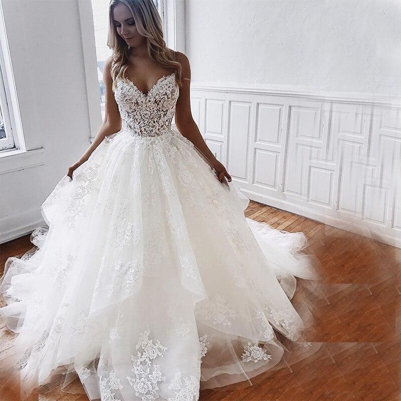Custom Made Branco Marfim Vestidos de Noiva A Linha de Vestidos de Casamento Com Decote Em V Apliques de Renda Spaghetti Vestido De Novia