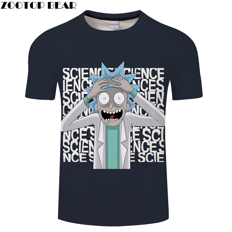 3D MEN Science Clever t shirt Boy Tee Short Sleeve tshirt Cartoon Funny Casual Summer t-shirt Round Neck Top ZOOTOP BEAR