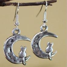 Vintage Design Silver Bijoux Cat Cresent Moon Drop Earrings For Women Fashion Jewelry Dangle Earrings Statement Earrings Girls