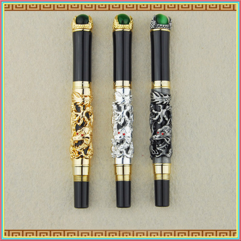Jinhao dragon engraving design fountain pen gold sliver luxury pen for business men high quality with bag gift caneta 03841 2pcs jinhao fountain pen silver flying dragon office gift pen and pen bag