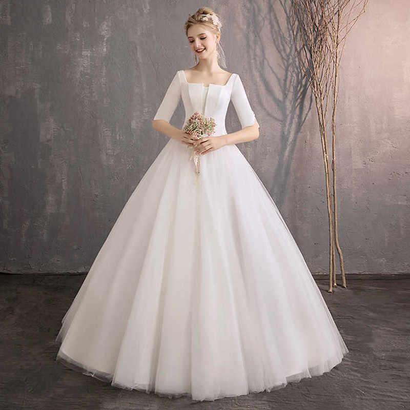 d2282edbe4435 Holievery Bateau Neck Satin Beach Wedding Dresses 2019 Half Sleeves ...