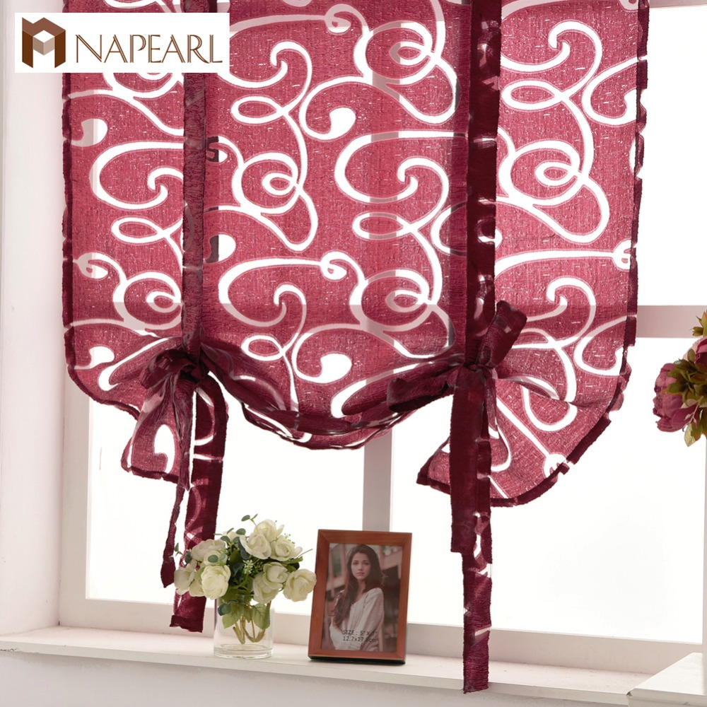 Kitchen Short Curtains Window Treatments Curtain Roman Blinds Jacquard Striped Curtains Semi-sheer Fabrics Door Panel Curtain