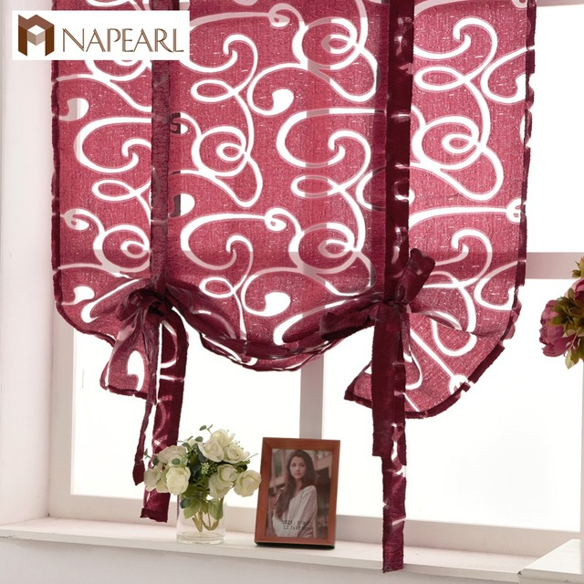 Kitchen Short Curtains Window Treatments Curtain Roman Blinds Jacquard Striped Semi Sheer Fabrics Door