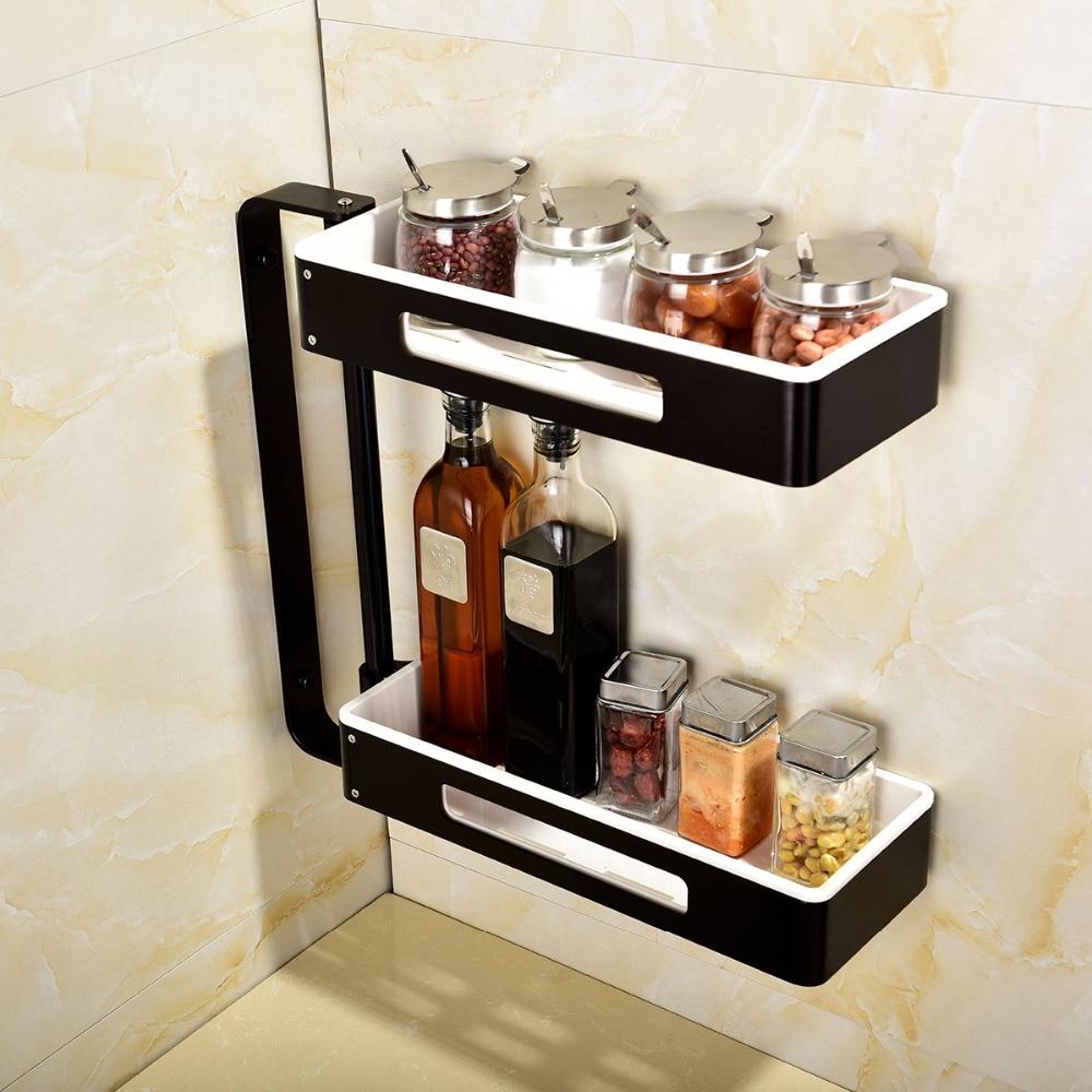 Envío Gratis estantes de baño giratorios de aluminio Multi función 2 4 niveles ducha esquina estante de pared montaje organizador autoadhesivo - 2