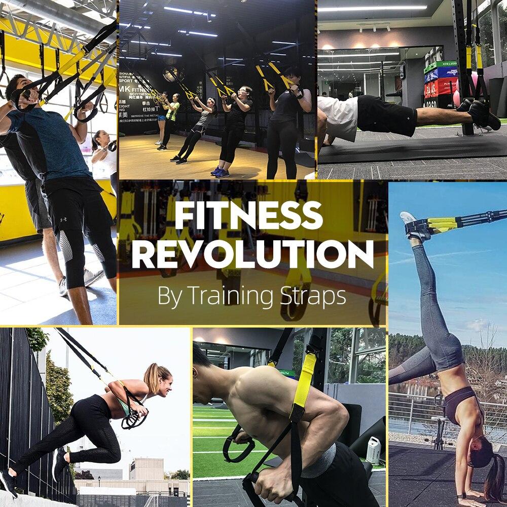 Resistance Bands Fitness Hanging Belt Training Gym Workout Suspension Exercise
