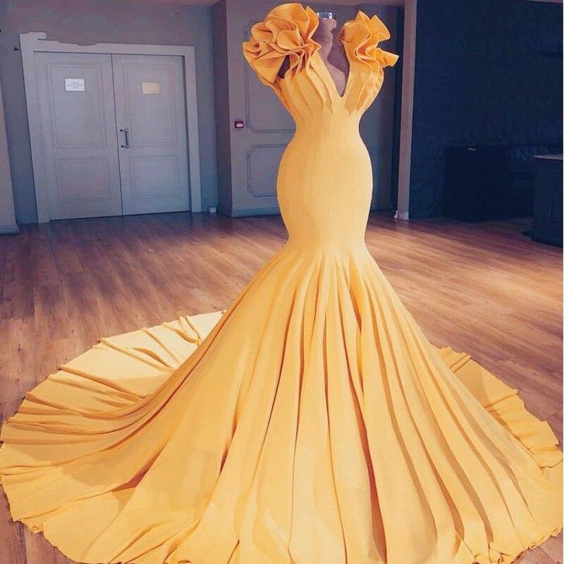 Stunning   Evening     Dresses   Gold Long Elegant vestido largo Mermaid V Neck Pleat   Evening   Gowns abiye gece elbisesi abendkleider
