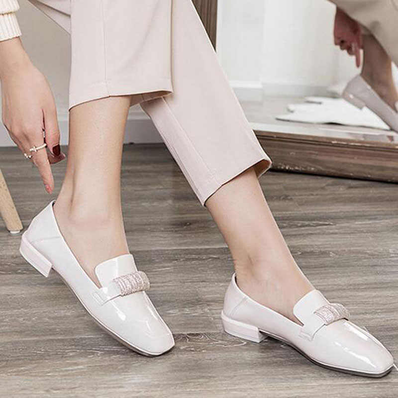 Zomer Rode Vrouwen Ballet Flats Lakleren Loafers Vrouw Strass Casual Schoenen dames Comfortabele Slip op Ballerina Ph42-7