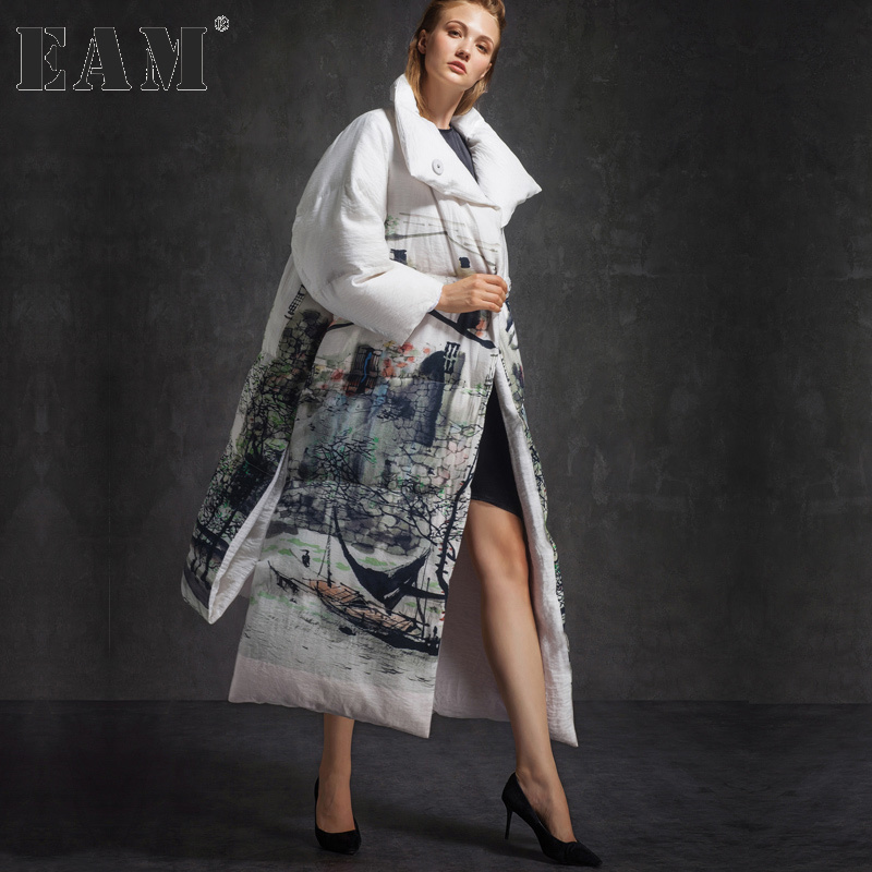 [EAM] 2017 new winter lapel long sleeve white printed loose big size long warm coat women jacket fashion tide JC38500S inc new black white women s small s printed ribbed knit cropped blouse $69 054