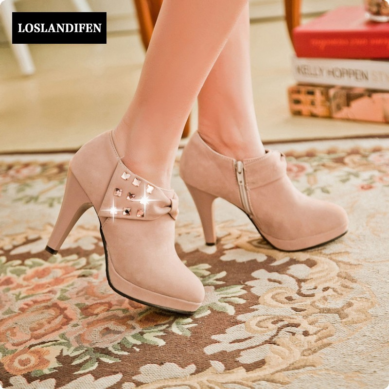 Spring Autumn Fashion Womens Faux Suede High Heel Shoes Crystal Rhinestones Thin Heel Ankle Boots Plus Size 3-11 Gray Black egonery quality pointed toe ankle thick high heels womens boots spring autumn suede nubuck zipper ladies shoes plus size