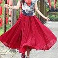 New Women High Waist Summer Classic Red Solid Color Boho Beach Fashion Elegant Casual Chiffon Long Skirt