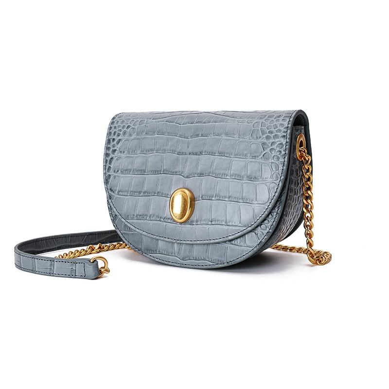 Luxo mini rodada saco Mulheres Bolsa do Couro Genuíno cadeia de Mulheres do desenhador Sacos Do Mensageiro Do Ombro Pequena Bolsa Da Embreagem Bolsa bolsos mujer - 2